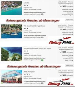 Reiseangebote Kroatien ab Memmingen