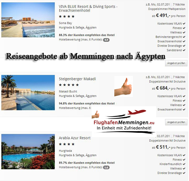 Reiseangebote Aegypten ab Memmingen