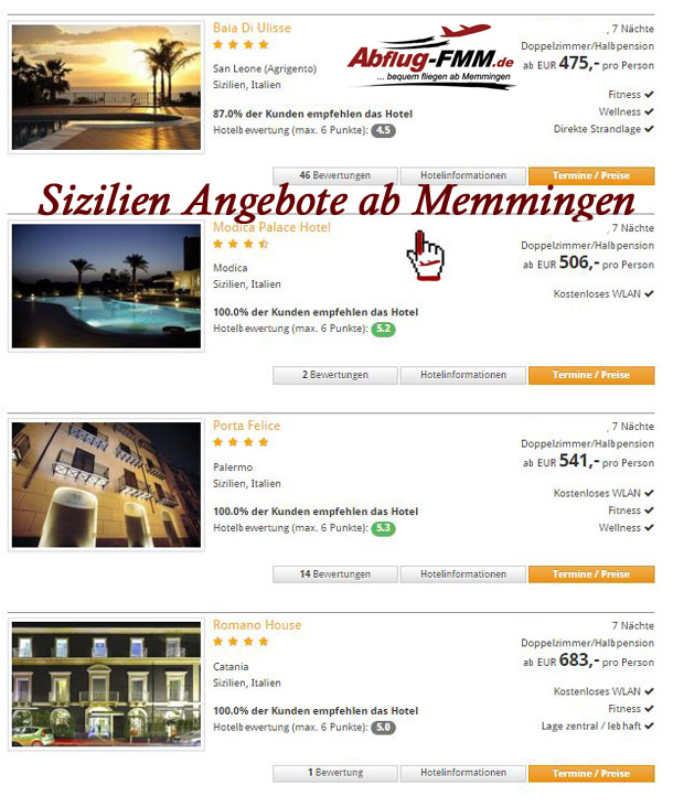 Angebote Sizilien Italien ab Memminger Airport