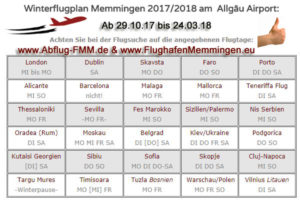 Winterflugplan 2017-18 Memminger Airport