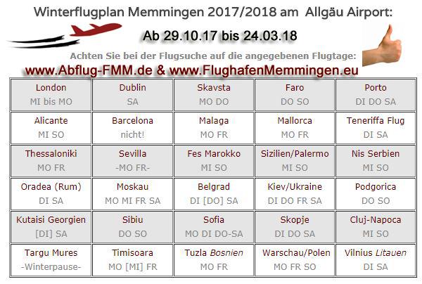 Winterflugplan 2017-18 Memmingen Airport