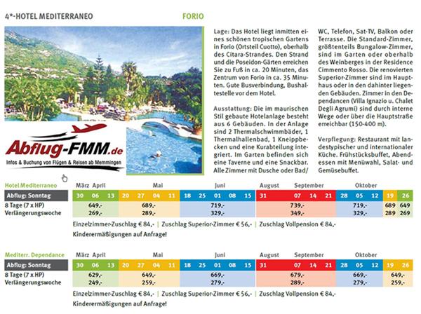 Hotel Mediterraneo Ischiaferien ab Memmingen