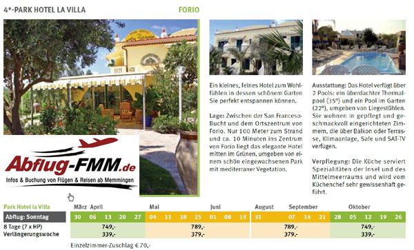 Hotel Parkhotel La Villa Ischiaferien ab Memmingen