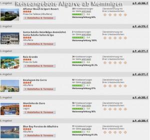 Reiseangebote Faro Algarve ab Memmingen