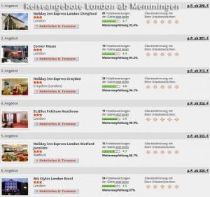 Angebote Städtereise ab Memmingen nach London