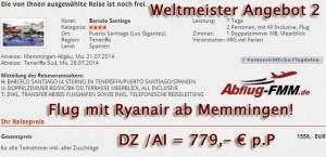 Weltmeister Angebote ab Flughafen Memmingen nach Teneriffa