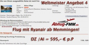 Weltmeister Angebote 4 ab Flughafen Memmingen nach Griechenland