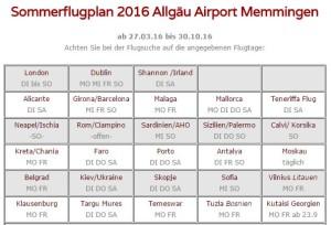 Sommerflugplan 2016 Allgäu Airport Memmingen