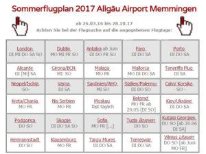 Winterflugplan 2017-18 Memmingen Flughafen