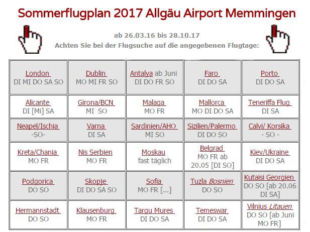 Sommerflugplan 2017 Memmingen Airport